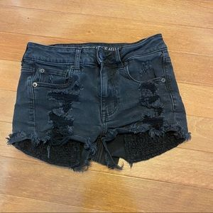 American Eagle Black Distressed Jean Shorts 2